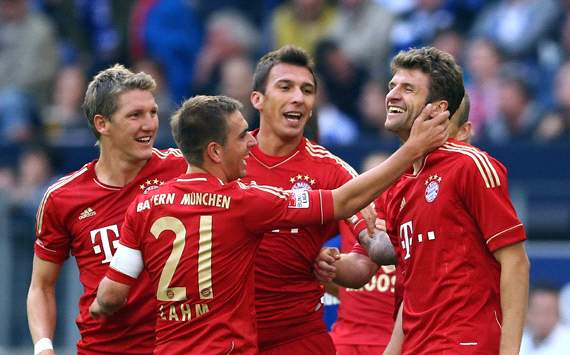 Bayern's players celebrating a goal againstv Leverkusen